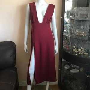 NWT Nasty Gal Deep on Dancing Midi Dress In Wine